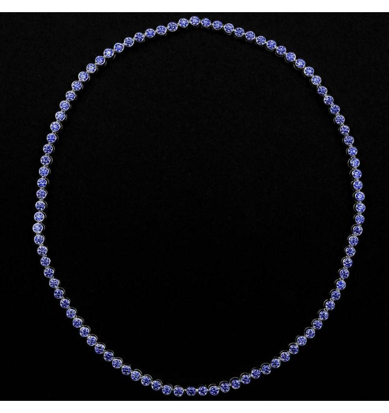 Collier saphir bleu Perle de diamants