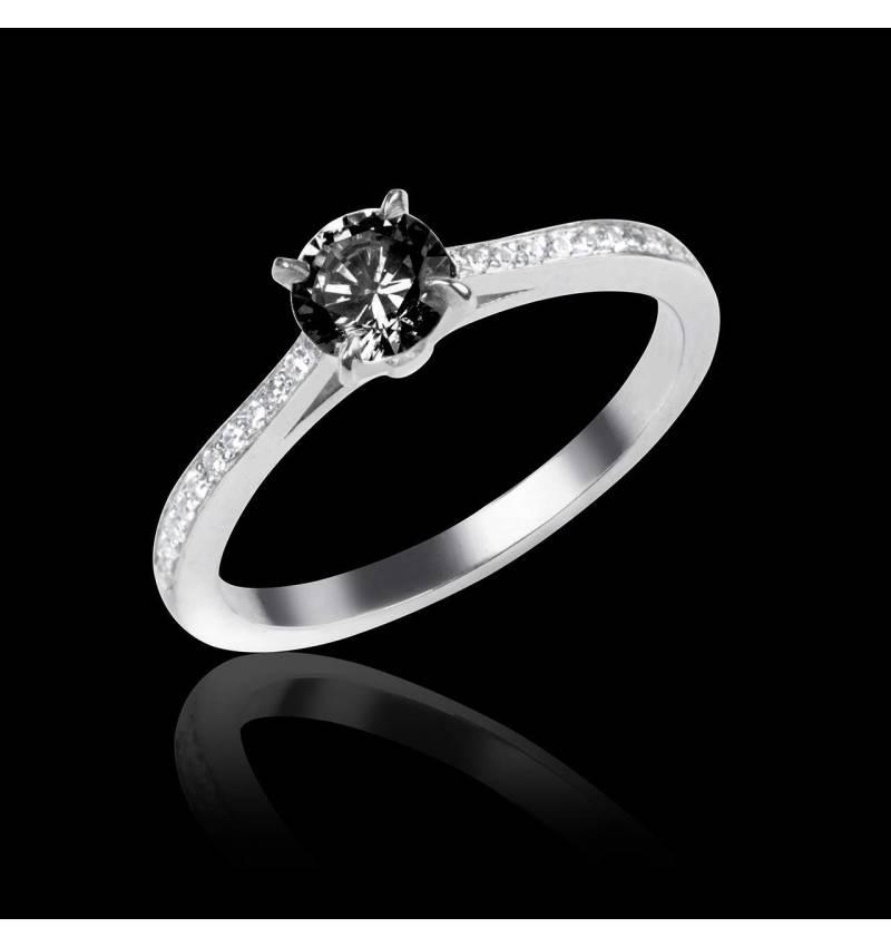 Bague de fiançailles diamant noir pavage diamant or blanc Elodie