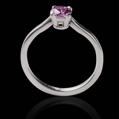 Solitaire saphir rose rond or blanc Vanessa solo