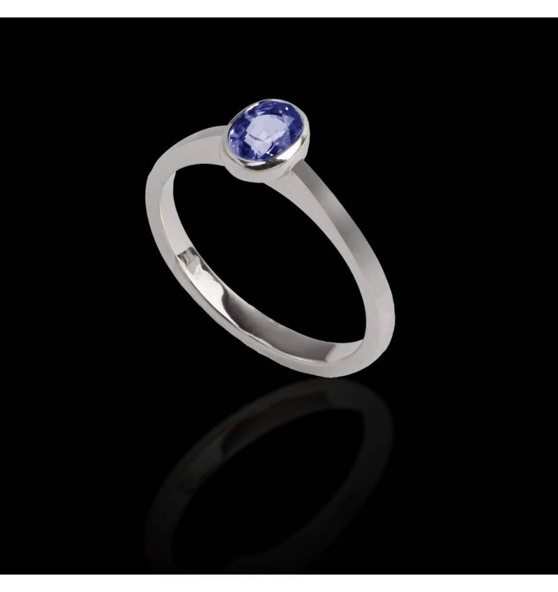 Solitaire saphir bleu oval or blanc Moon solo