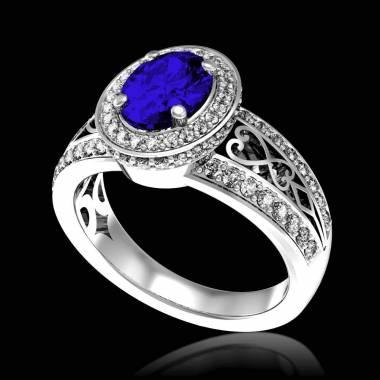 Bague de fiançailles saphir bleu pavage diamant or blanc Tsarine