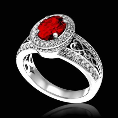 Bague de fiançailles rubis pavage diamant or blanc Tsarine