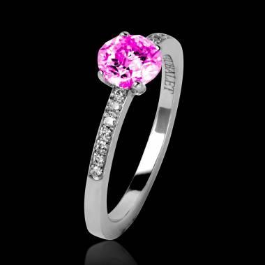 Bague de fiançailles saphir rose pavage diamant or blanc Judith