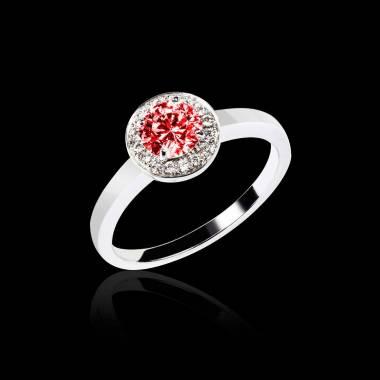 Solitaire rubis pavage diamant or blanc Rekha solo