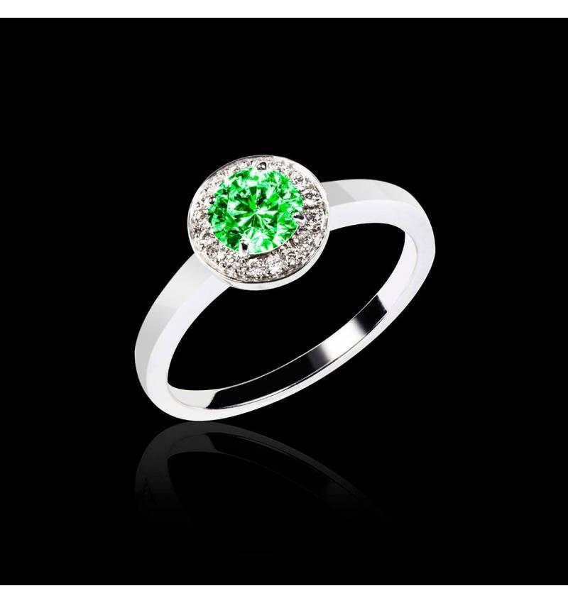 Solitaire émeraude pavage diamant or blanc Rekha solo