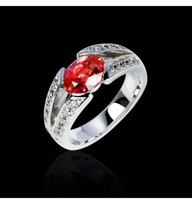 Bague de fiançailles rubis pavage diamant or blanc Isabelle
