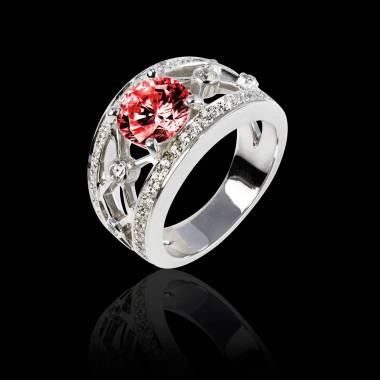 Bague rubis forme rond pavage diamant or blanc Plena Luna