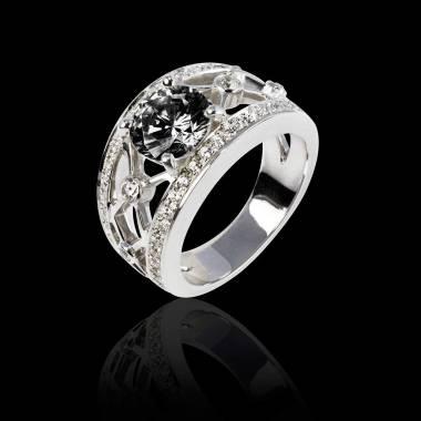 Bague diamant noir forme rond pavage diamant or blanc Regina Suprema