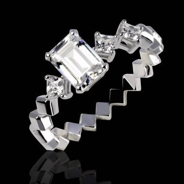 Bague de fiançailles diamant pavage diamant or blanc Elsa