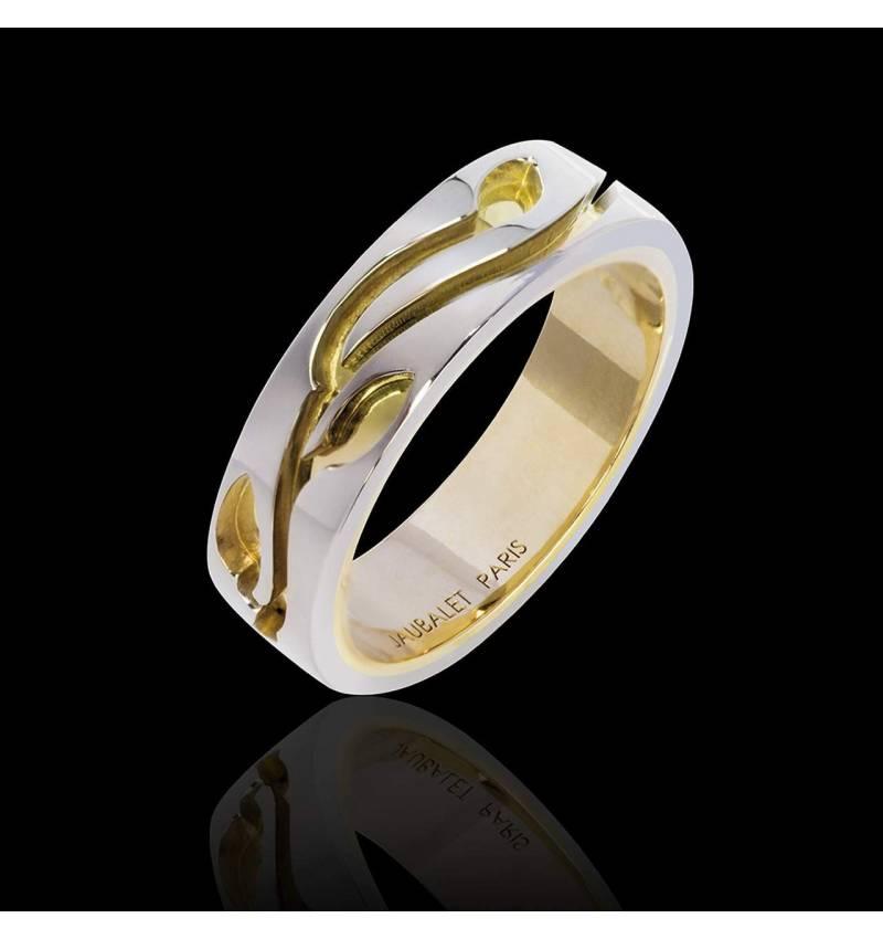 Alliance de mariage doublée en or blanc or jaune Blanc Yann