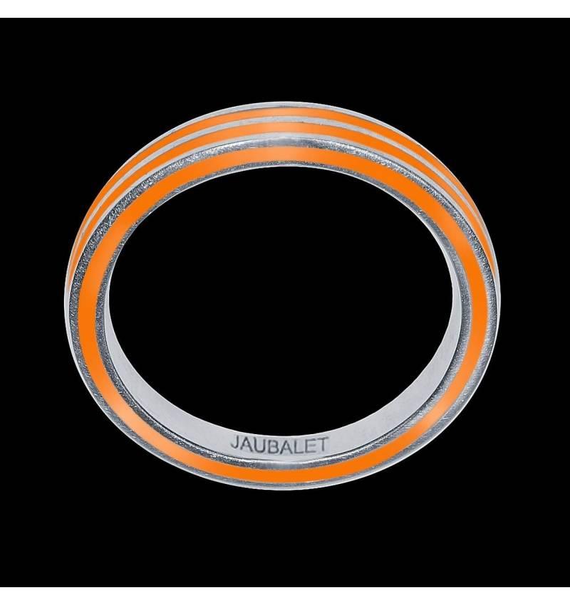 Alliance homme or et laque Roman Double anneau