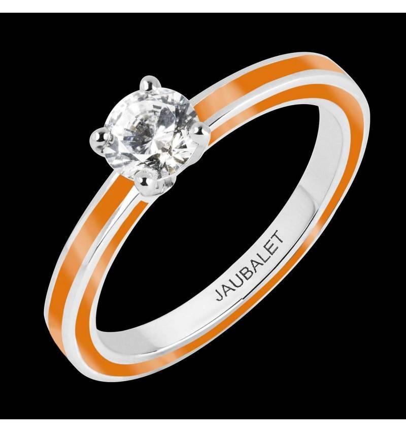 Bague de fiançailles diamant laque bleu cobalt or blanc Judith Full laque