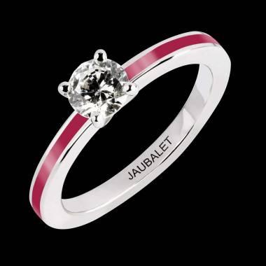Bague de fiançailles diamant or blanc Judith One laque