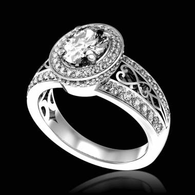 Bague de fiançailles diamant pavage diamant or blanc Tsarine