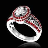 Bague de fiançailles diamant pavage rubis or blanc Tsarine