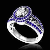 Bague de fiançailles diamant pavage saphir bleu or blanc Tsarine