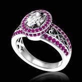 Bague de fiançailles diamant pavage saphir rose or blanc Tsarine