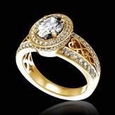 Bague de fiançailles diamant pavage diamant or jaune Tsarine