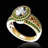 Bague de fiançailles diamant pavage émeraude or jaune Tsarine