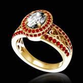 Bague de fiançailles diamant pavage rubis or jaune Tsarine