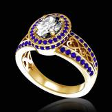 Bague de fiançailles diamant pavage saphir bleu or jaune Tsarine