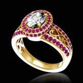 Bague de fiançailles diamant pavage saphir rose or jaune Tsarine