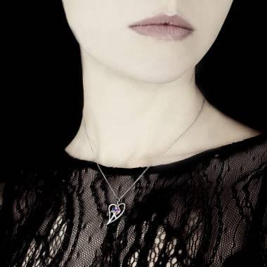 Pendentif pavage saphir rose et saphir bleu or blanc Coeur
