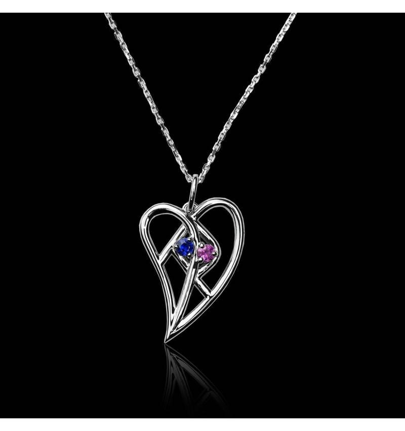 Pendentif pavage saphir rose et saphir bleu or blanc 18K Coeur