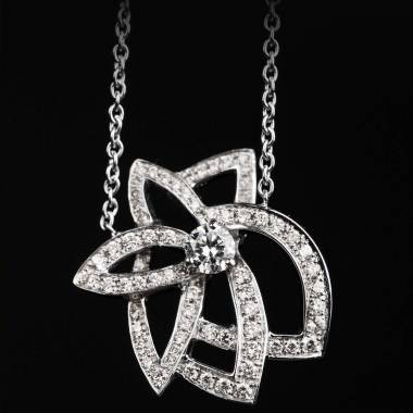 Pendentif pavage diamant or blanc Perseides
