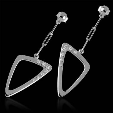 Boucles d'oreilles pavage diamant or blanc Triangle