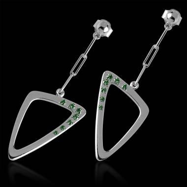 Boucles d'oreilles pavage émeraude en or blanc 18K Triangle