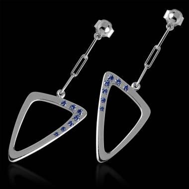 Boucles d'oreilles saphir bleu Triangle