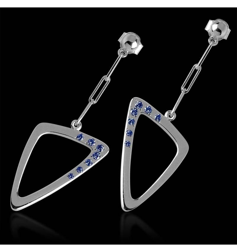Boucles d'oreilles pavage saphir bleu en or blanc 18K (5g) Triangle