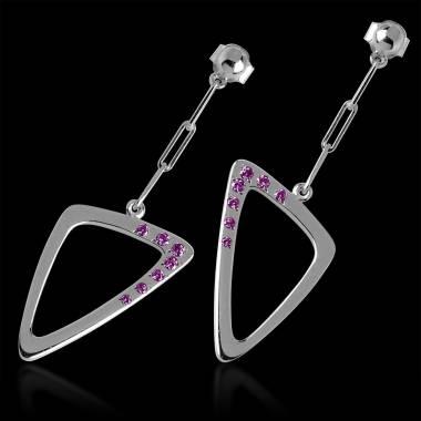 Boucles d'oreilles chaîne maille pavage saphir rose en or blanc 18K (5g) Triangle