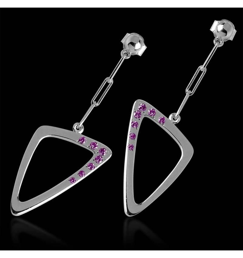 Boucles d'oreilles saphir rose Triangle
