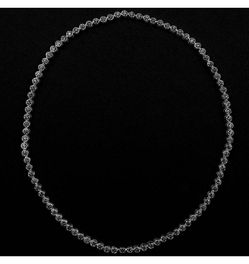 Collier diamant noir 17 carats or blanc Perle de diamants