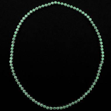 Collier émeraude 17 carats en or blanc 18K Perle de diamants