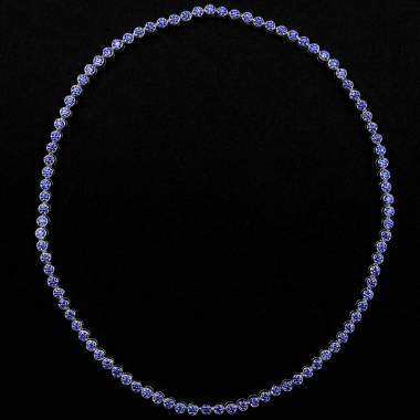 Collier saphir bleu 17 carats en or blanc 18K (37,9 g) Perle de diamants