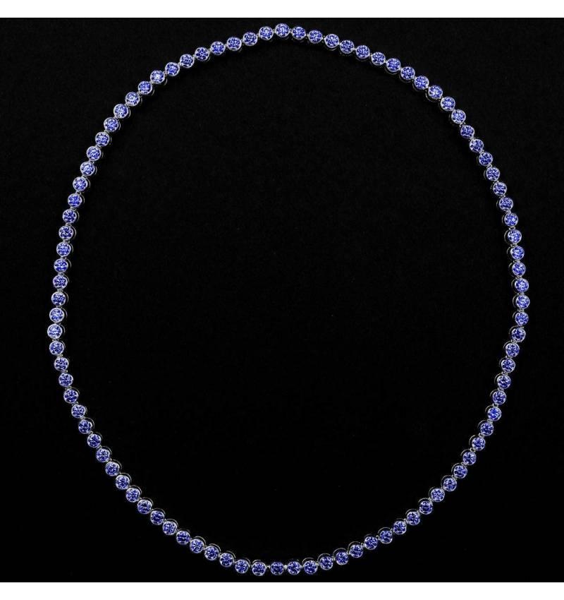 Collier saphir bleu 17 carats en or blanc 18K (37,9 g) Perle de diamants