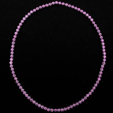 Collier saphir rose 17 carats en or blanc 18K (37,9 g) Perle de Diamants