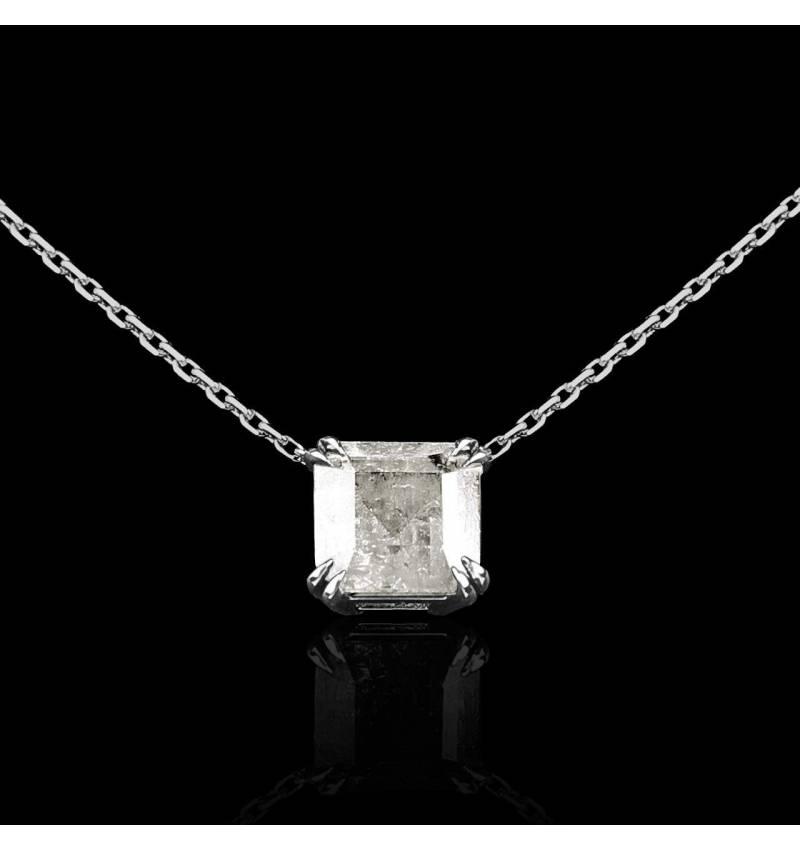 Pendentif diamant or blanc Griffe d'amour