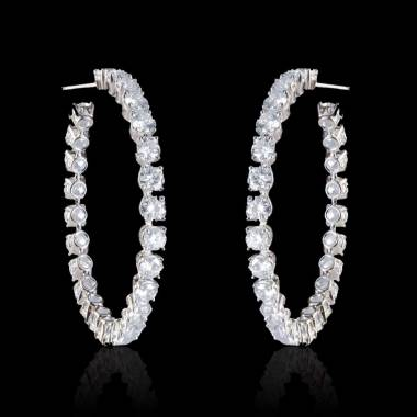 Boucles d'oreilles diamants Créoles