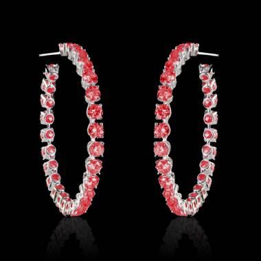 Boucles d'oreilles pavage rubis or blanc 18K Créoles