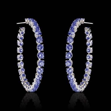 Boucles d'oreilles pavage saphir bleu or blanc 18 K (6,6g) Créoles