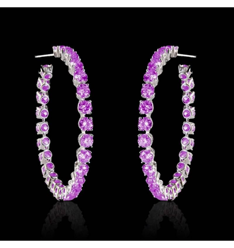 Boucles d'oreilles pavage saphir rose or blanc 18 K (6,6 g) Créoles