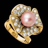 Bague de fiançailles perle rosée pavage diamant or jaune Eternal Flower