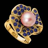 Bague de fiançailles perle rosée pavage saphir bleu or jaune Eternal Flower
