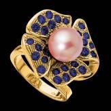 Bague de fiançailles perle blanche pavage diamant or blanc Eternal Flower