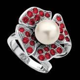 Bague de fiançailles perle blanche pavage rubis or blanc 18K Eternal Flower