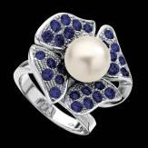 Bague de fiançailles perle blanche pavage saphir bleu or blanc 18K Eternal Flower